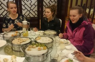 Our dumpling dinner (Kathrin, Liana and Keely)
