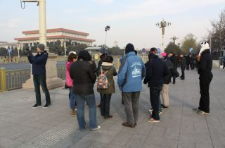 Being shown around Tienanmen Sqare